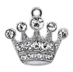 ¡Envío gratis! 10 colgantes de encanto de corona de diamantes de imitación de tono plateado 21x20mm (B10355) hallazgos de joyería al por mayor que hacen venta caliente