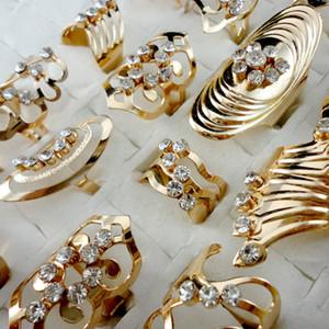 Estilo de mezcla aleación de zinc de aleación de oro anillo de banda anillo de punta ajustable para mujeres hombres al por mayor anillos de joyería lotes LR475