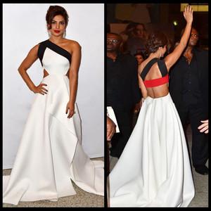 2016 clásico blanco y negro vestido de noche un hombro sin mangas Dubai largo satinado vestido de fiesta alfombra roja Celebración