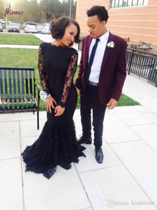 2021 Mermaid Black Party Prom Dresses Sexy Crew Lace Long Sleeves Nigerian Evening Dresses Free Shipping