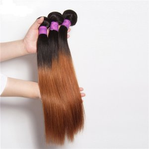 Raíces oscuras 1B 30 Paquetes de tejido Ombre rubio Cabello virgen de Malasia Sedoso Color liso Dos tonos Ombre castaño medio Extensiones de cabello humano