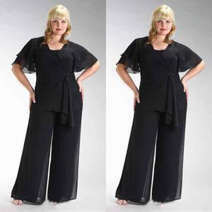 Популярные 2016 плюс размер черный шифон с коротким рукавом мать невесты две части брюки костюмы из бисера талии на заказ EN4127