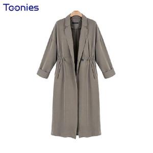 2017 Outono Nova Chegada Longo Trench Coat para Mulheres High Street Cordão Cintura Casaco Feminino Casual Trench Coats Das Mulheres
