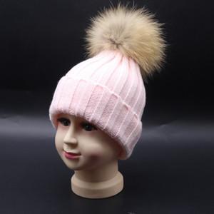 2017 أزياء الأطفال الشتاء قبعات الراكون الفراء القبعات 15 سنتيمتر الفراء pompom بيني كاب قبعة الفرو الطبيعي للأطفال الأطفال 77