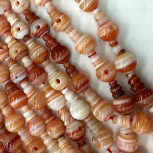 Natural Sardonyx Laranja Vermelho Laço Ágata Pagode Tee Buddha Cabeça Tibet Guru Beads Fit Jóias DIY Colares (10 Miçangas / lote) 04200