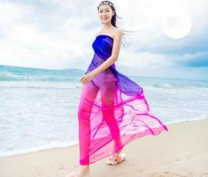 Schals Strand Pareo Sommer Frauen zwei Ton Chiffon Schals Schal High Fashion 2018 Bademode Bikini vertuschen Hawaiian Sarong Kleid