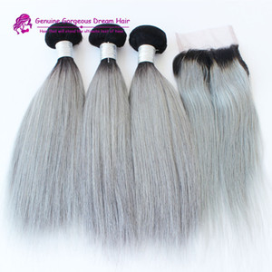 3 pacotes com fechamento cabelo humano brasileiro ombre cinza em linha reta prata extensões de cabelo cinza trama de trama cinza pacotes com fechamento
