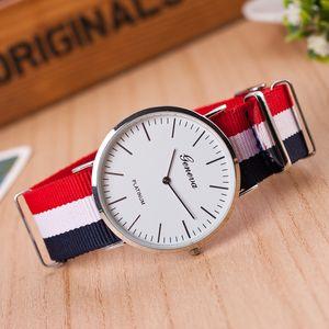 뜨거운 판매 좋은 품질 유명 브랜드 시계 패션 캐주얼 여성 나일론 스트랩 40mm 제네바 시계 Relogio 남자 석 영 부부 선물 C