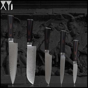 """Coltelli damasco XYJ 8 """"chef 7"""" santoku 5 """"coltello santoku utility 3.5"""" VG10 core 71 strati coltello da cucina damasco in acciaio"""