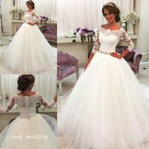Новое Прибытие Романтические Белые Свадебные Платья Бальное платье Тюль Кружева Long Dream Princess Свадебные Платья Партии Плюс Размер