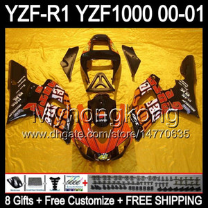 8Regalos + carenado para YAMAHA Repsol YZF-R1 R1 00-01 YZFR1 YZF1000 Y99260 YZF R 1 YZF 1000 2000 2001 Naranja rojo negro YZF R1 00 01 Kit de carrocería
