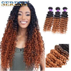 1B 30 Colorful Blonde Dark Roots Ombre Brazilian Deep Wave Wavy Virgin Human Hair Weave Weft Extensions 3Pcs Lot Dark Honey Blonde Hair