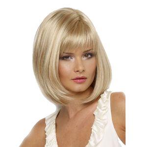 WoodFestival curto loira peruca de alta temperatura perucas de cabelo reto mulheres brancas de fibra de comprimento médio de fibra sintética bob peruca