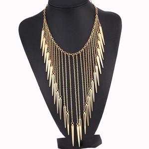 Punk Rivet Necklace Spikes Statement necklace for women Alloy Vintage Necklaces & pendants Fashion jewelry Rivets Tassel Necklaces