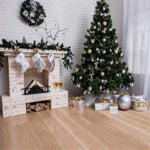 Branco Brick Wall Lareira Fotografia Backdrops Vinyl Impresso da árvore de Natal Caixas de presente Cortina branca fundo interno Photo Piso de Madeira