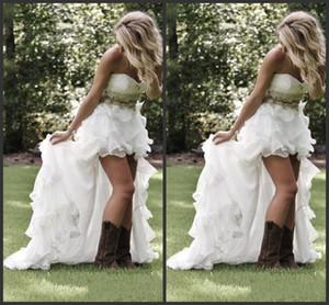2020 nuevo amor de volantes de organza asimétrica Equipada Hi-lo Novia blanca vestidos de novia modesta altas-bajas del estilo rural vestidos de novia 022