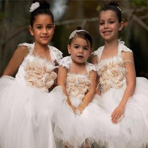 Güzel Ülke Düğün Çiçek Kız Elbise Balo Cap Kollu Ruffles Tül Çay Boyu Çocuklar Resmi Elbiseler