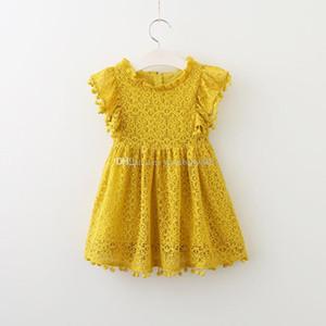 Новорожденных девочек Рождество платье принцессы хлопок дети помпон кисточкой платья дети кружева платье 3 цвета C2789