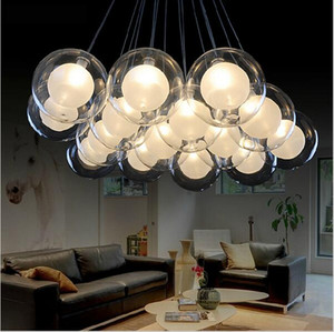 Modern Art Glass LED Pendant Light Glass Ball Chandelier Lighting Fixture G4 DIY Lamp for Living Room Dining Roon