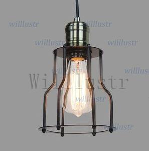 خمر CAGE FILAMENT PENDANT الإضاءة الصناعية اديسون لمبة سوداء واحدة RH قلادة مصباح LOFT الأمريكية البلد نمط الإضاءة