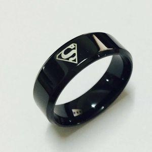 Siyah superman S logo ittifak tungsten karbür yüzük erkekler kadınlar için geniş 8mm 7g yüksek kalite ABD 7-14