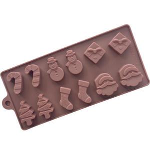 Moldes de torta de silicona moldes de silicona muñeco de nieve árbol de navidad varita calcetines moldes de chocolate marrón para hornear herramientas