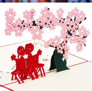 Cartes de voeux d'anniversaire Love Sakura 3D stéréoscopique Corée créative à la main personnalisée cartes postales de bénédiction de Noël en gros