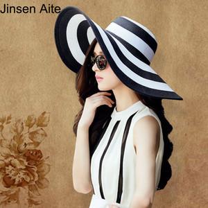 All'ingrosso-New Fashion Summer da donna Cappello da sole Girl Classic in bianco e nero a righe Vintage Large Large Brim Straw Beach Hat Visor Cap 0997