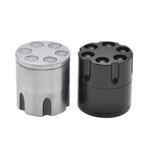 Zinc Alloy Revolver Bullet Dia. 29MM 3 capas Herb Grinder Especias Herbal Fumar Trituradora Mano Masticadora Tabaco Manivela