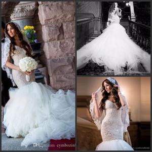 Satén y encaje sexy espalda abierta sirena vestidos de novia más tamaño vestidos de boda de lujo Crystal Line 2016