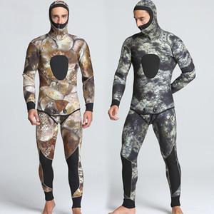 5mm SCR wetsuit de buceo de invierno camuflaje de los hombres Traje de buceo desgaste 2 piecec un conjunto tamaño S-2XL