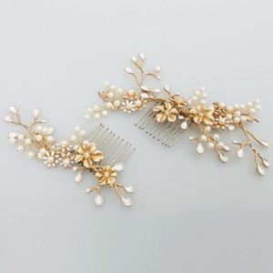 Beijia Yeni Tasarım Altın Şube Çiçek Saç Tarak İnci Düğün Saç Takı Aksesuar Vintage Gelin Combs Şapkalar