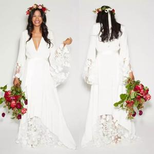 Einfacher Bohemian counrtry Brautkleider mit langen Ärmeln tiefen V-Ausschnitt bodenlangen Sommer Boho Hippie-Strand West Braut Brautkleider