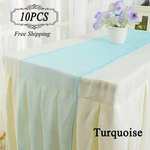 Бесплатная доставка 10 органзы стол бегунов золото фиолетовый кристалл органзы ткань 30X275 см современный бегун стол для свадьбы в случае праздничные атрибуты