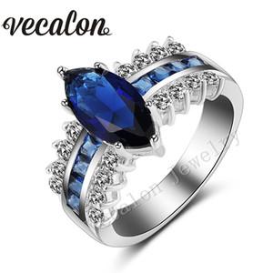 Vecalon Marquise Cut 5ct Sapphire Diamante simulado Cz 925 Sterling Silver Anillo de bodas de compromiso Set para mujer Band