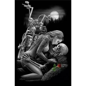 Череп любовник мотоцикл полный дрель DIY мозаика рукоделие Алмаз живопись Вышивка Крестом ремесло комплект стены дома висит декор