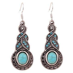 Sommer Fein und Modeschmuck Charming Ethnische Tibetischen Silber Oval Türkis Stil Tropfen Baumeln brincos Ohrringe für Frauen