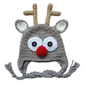Adorabile cappello di renna, fatto a mano all'uncinetto Baby Boy Girl Rudolf Red Nose Moose Hat, costume di Natale, bambino neonato animale foto Prop