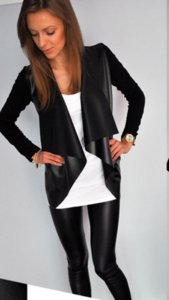 2016 new long sleeved cardigan leather stitching