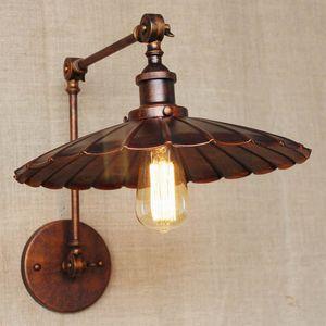 промышленный португальский стиль античный ржавчины настенный светильник / поворотный кронштейн настенное освещение для мастерской / ванной комнаты Vanity 2 применяет руку торнадо