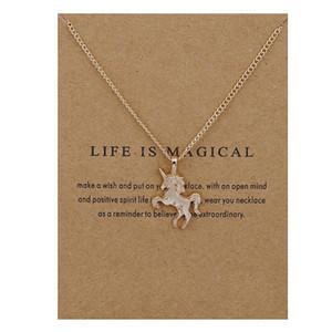펜던트 목걸이 여자를위한 보석 카드를 가진 금은 운이 좋은 Unicorn 쇄골 목걸이 동물성 합금 펜던트