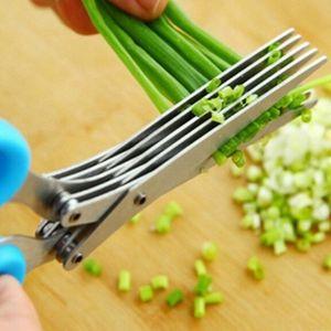 1 pcs 5 couches inox cuisine ciseaux couteaux de cuisine évier outil multifonctions épices ciseaux cassés