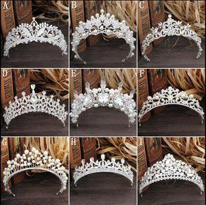 Gorgeous Sparkling Silver Big Wedding Diamante Pagiat Tiaras Hairband Crystal coronas nupciales para las novias Joyas de pelo Casco
