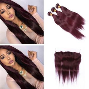 99J 브라질 인간의 머리카락 번들 13 * 4 레이스 정면 4pcs 부르고뉴 스트레이트 프런트와 와인 붉은 머리카락 정면 폐쇄