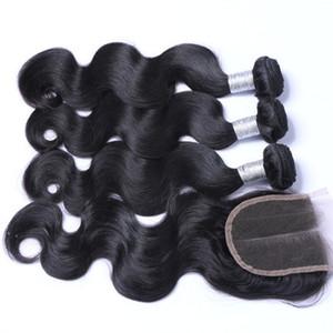8a Бразильские девственные волосы с наращиваниями закрытия 3 Пакета Бразильские Волосы для тела с 4х4 Кружева Закрытие Необработанные Remy Человеческие волосы Feave