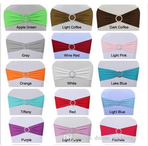 Spandex Lycra Wedding Chair Cover Sash Bands Wedding Party Birthday Chair buckle sash Decoration Colors Available