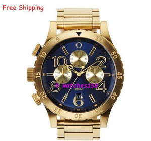 Montre à quartz pour homme A486-1922 THE 48-20 CHRONO Bracelet à cadran bleu et bracelet en acier doré CHRONOGRAPHE Boîte d'origine A4861922 A486 1922