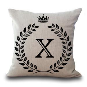 Alphabet anglais Lettre Un Côté Imprimé Catton Linenr Amour Taies d'oreiller Home Office Avec Feuilles Couronne