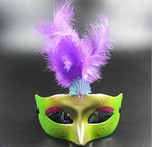 Halloween girl pary face masks LED party Masks Halloween Decoration Venetian Masquerade feather masks Princess Kid Gift Favors face mask