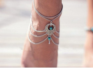 Boho Vintage Turquoise Charm Multi Layer Ankle Bracelets National Style Womens Barefoot Sandals